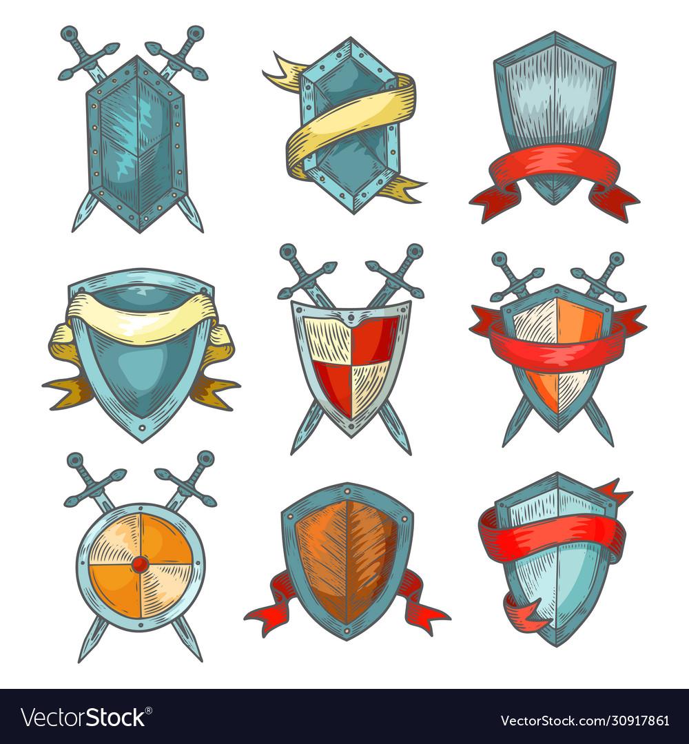 Shield and sword medieval heraldic armor sketch