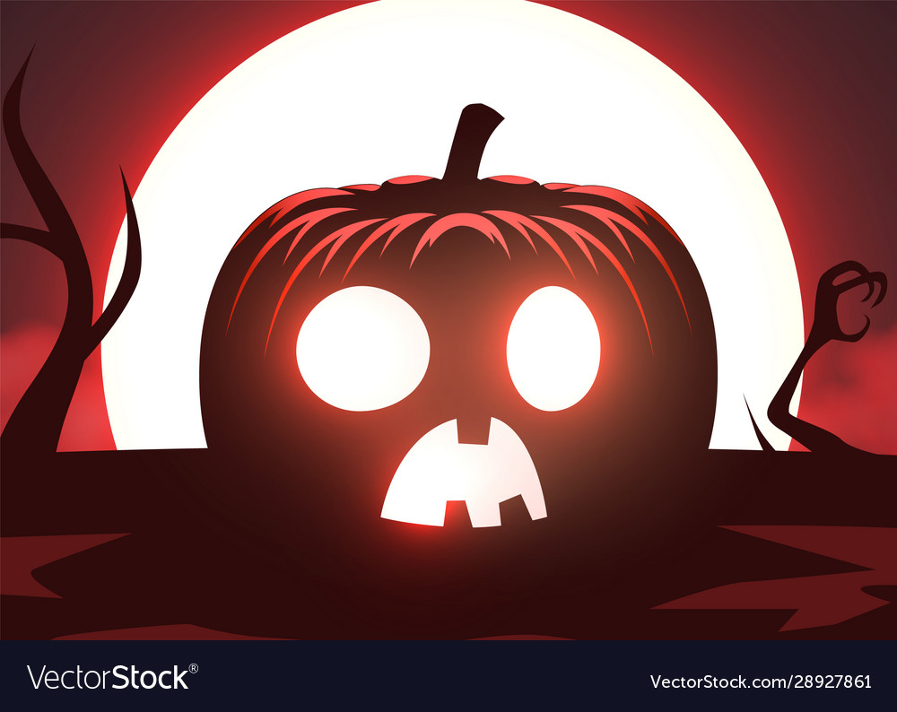 Silhouette scary pumpkin zombie hand on moon