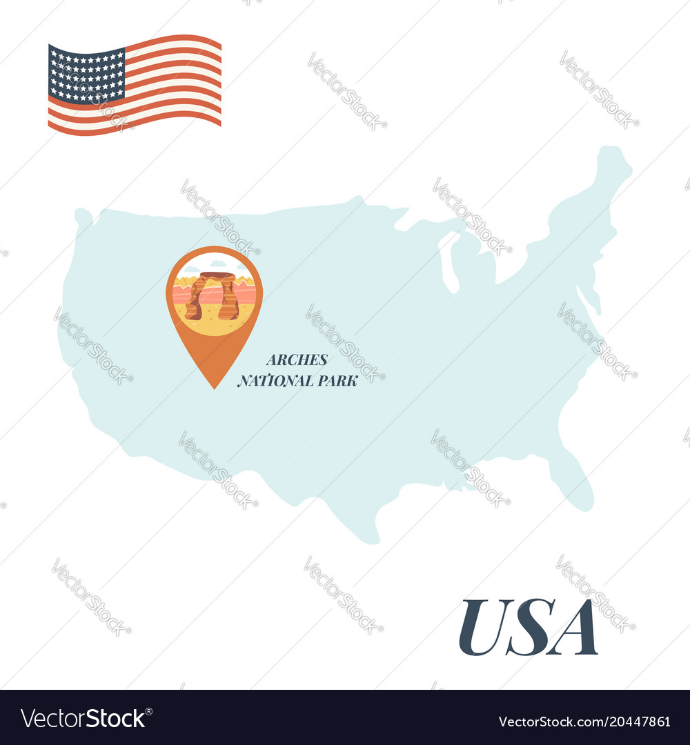 Usa map arches national park pin travel concept