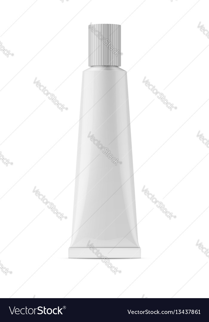 White glossy metal tube for glue vector image