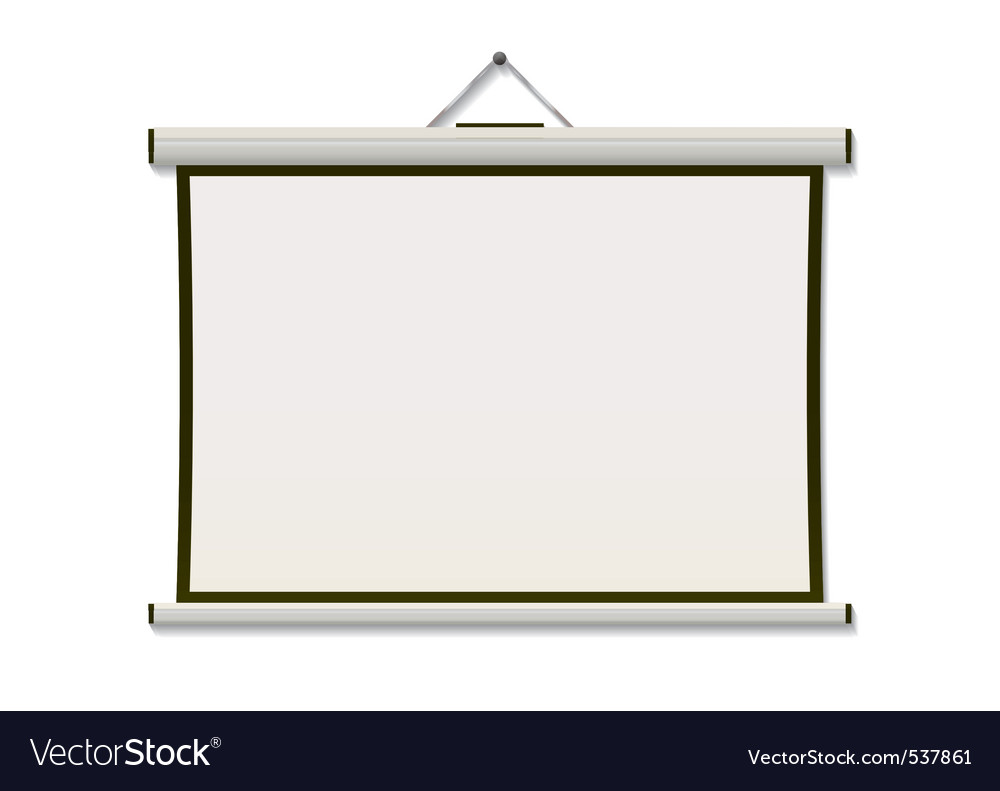 White projection screen hanging from wall with cop