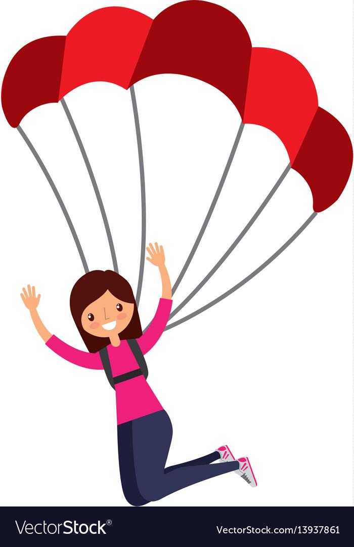 young woman with parachute royalty free vector image rh vectorstock com parachute vector graphics parachute vector art