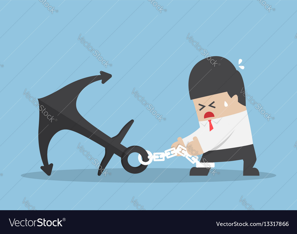 Businessman chained to a heavy metal anchor