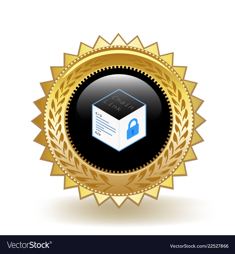 Chainlink cryptocurrency coin gold badge
