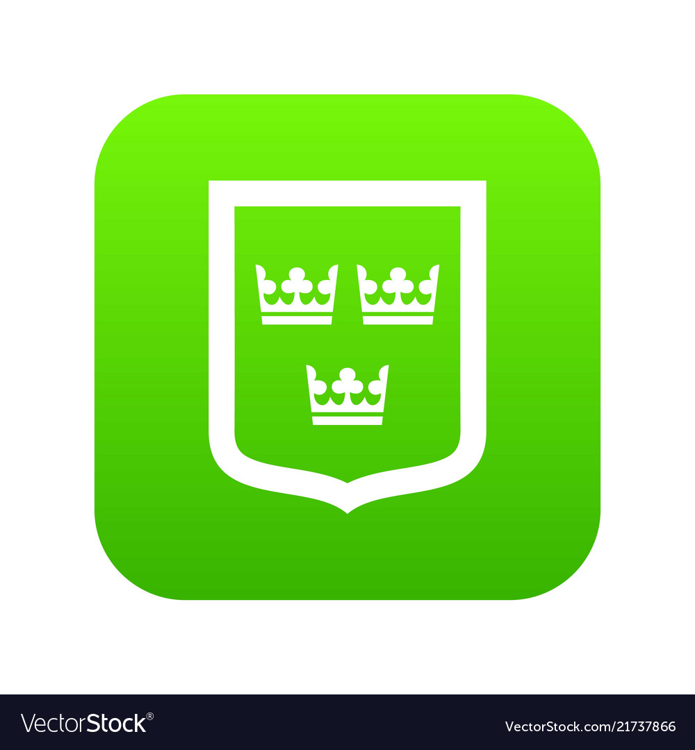 Coat of arms of sweden icon digital green