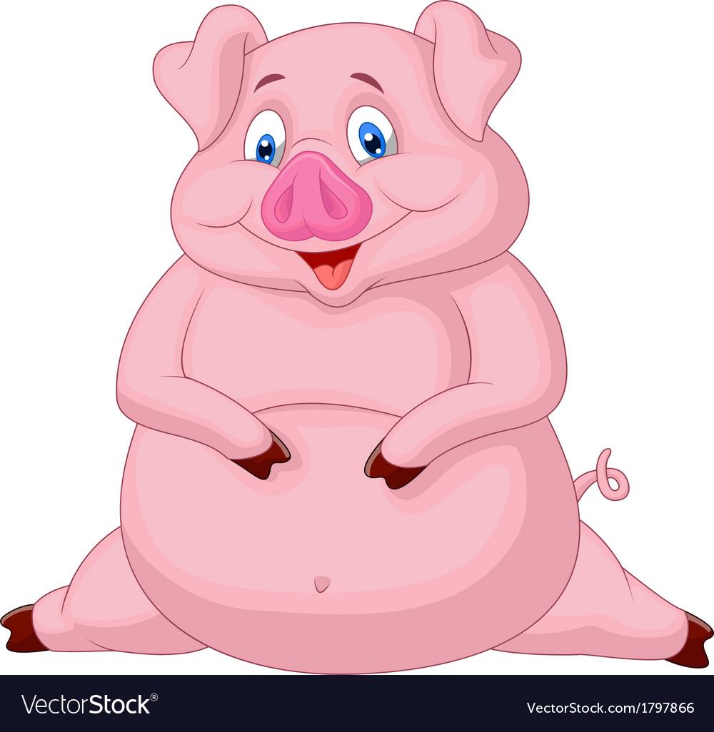 fat pig cartoon royalty free vector image vectorstock rh vectorstock com cute fat pig cartoon fat guinea pig cartoon