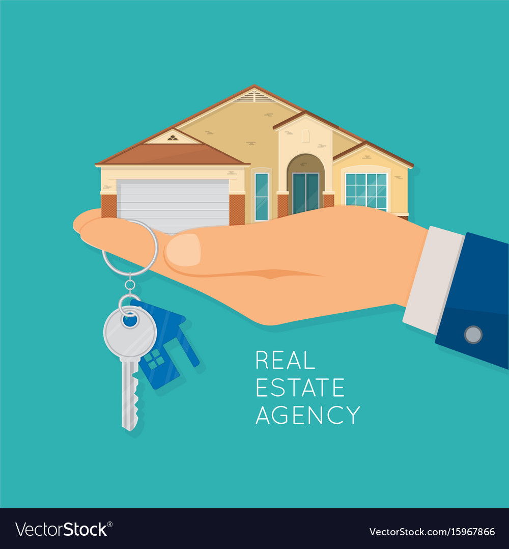 Hand holding house and key real estate agency