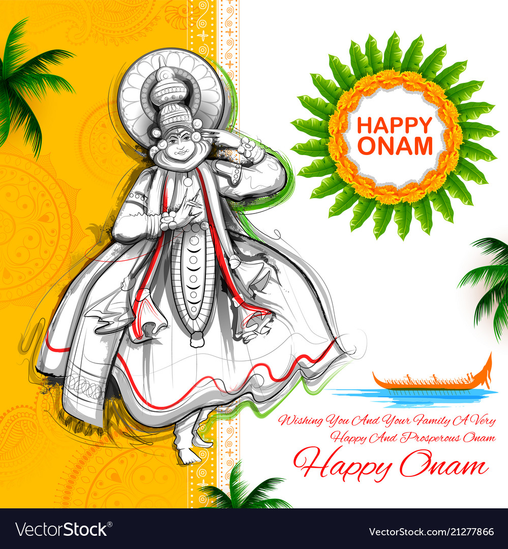 Kathakali dancer on background for happy onam