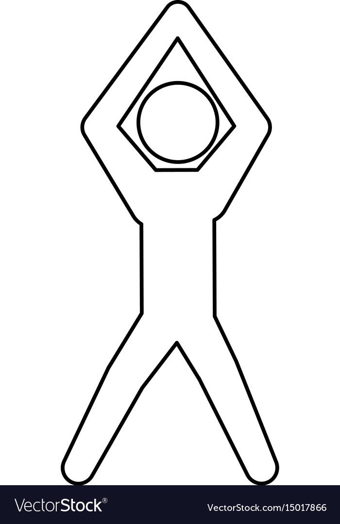 Line pictogram man silhouette doing exercise