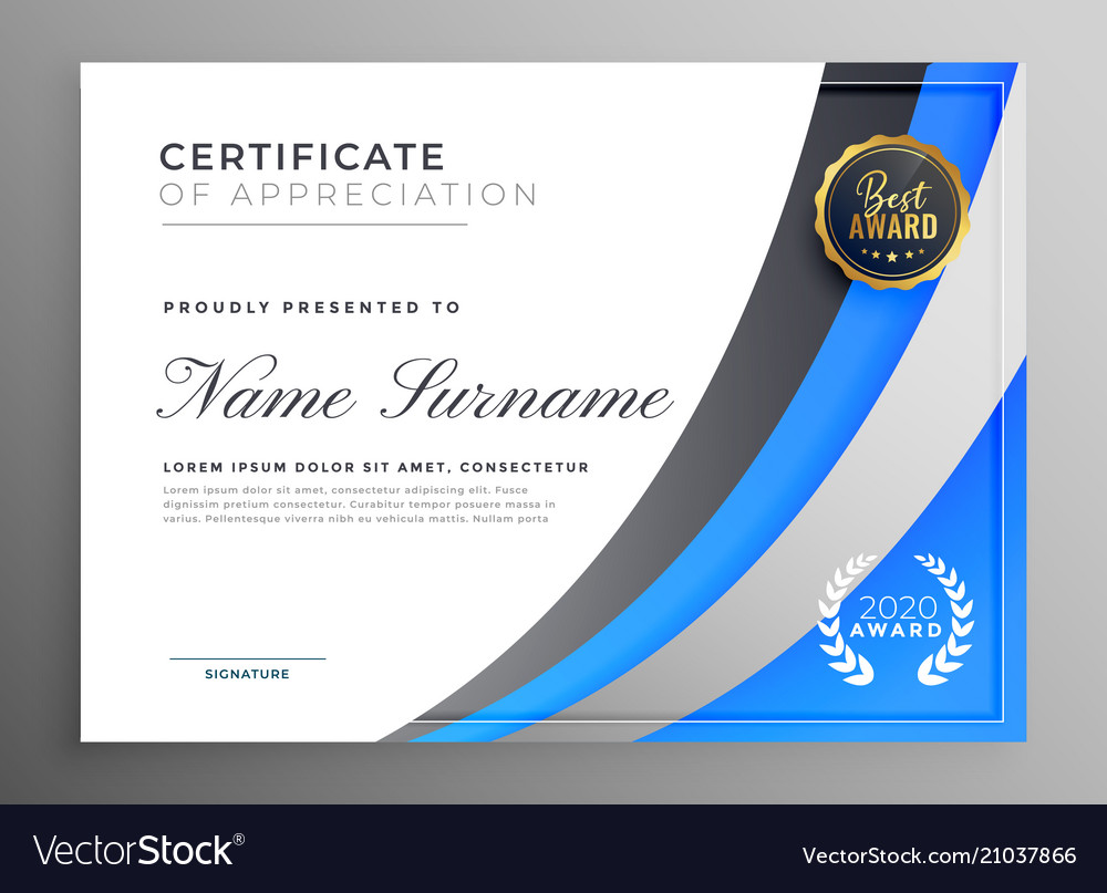 professional blue certificate of appreciation vector image