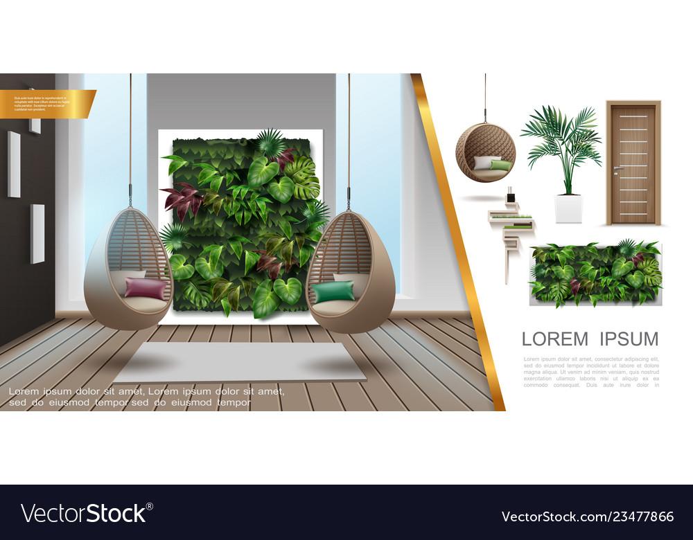 Realistic home interior colorful composition