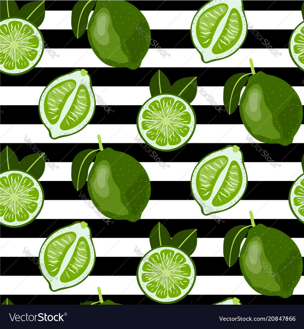 Seamless pattern with whole and sliced limes