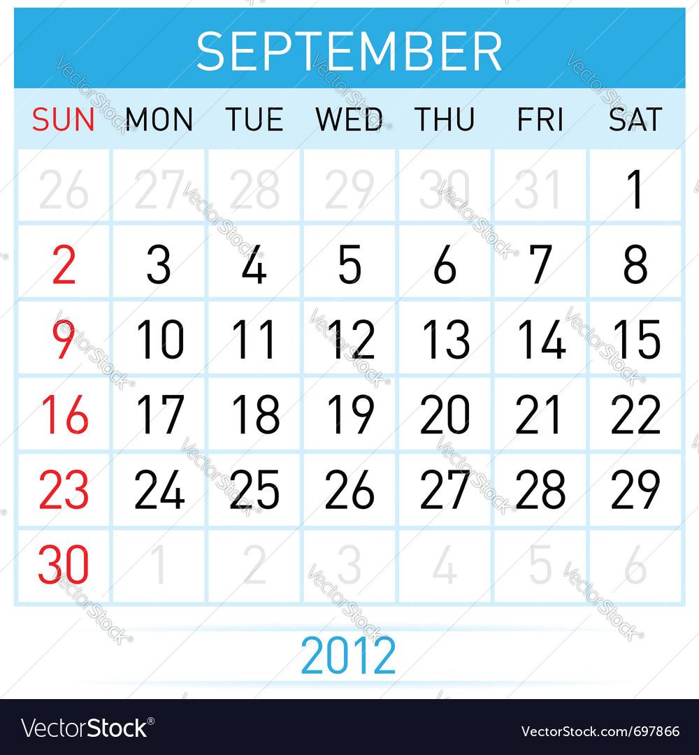 September calendar vector image