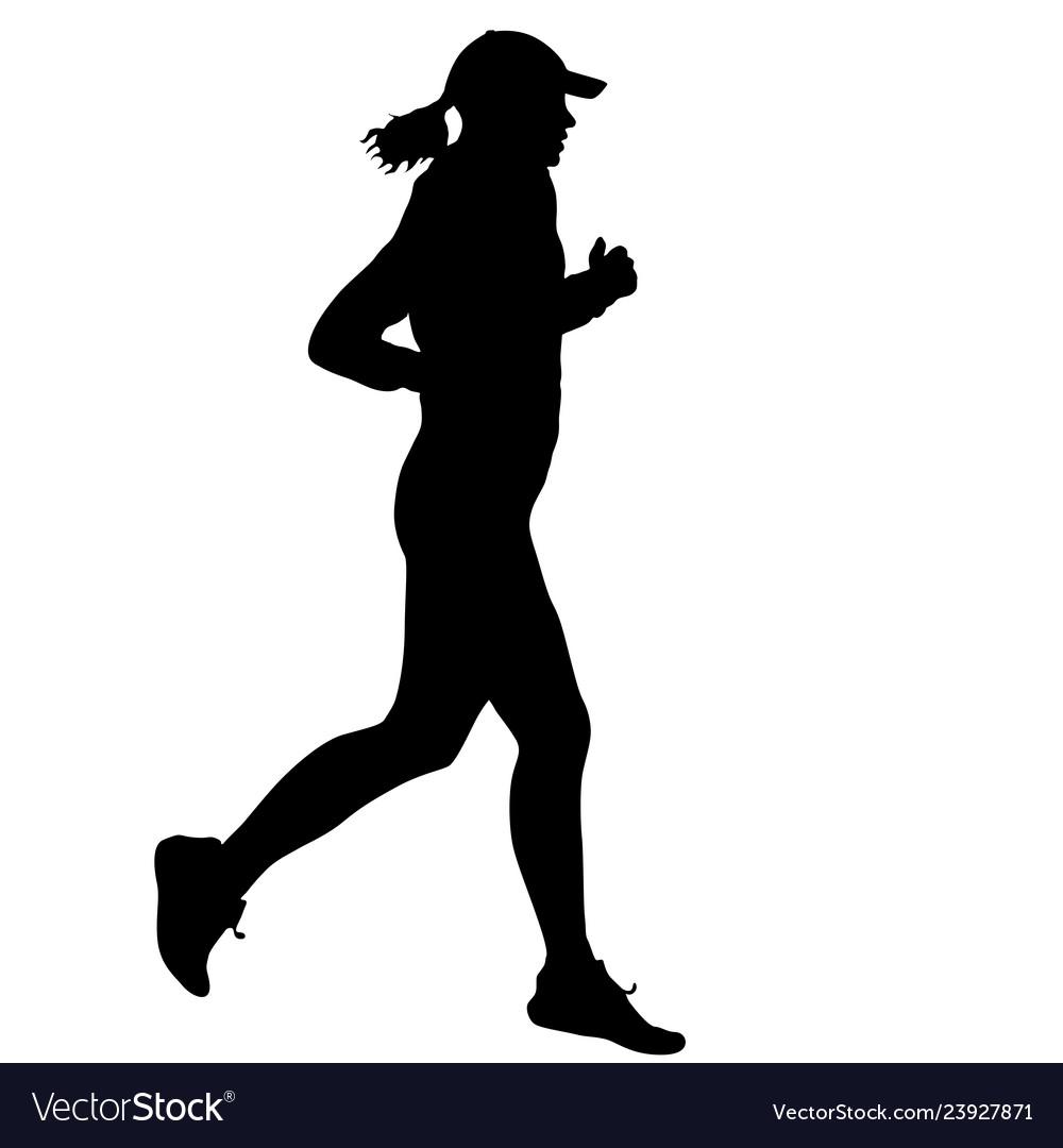 Black silhouettes runners sprint women on white