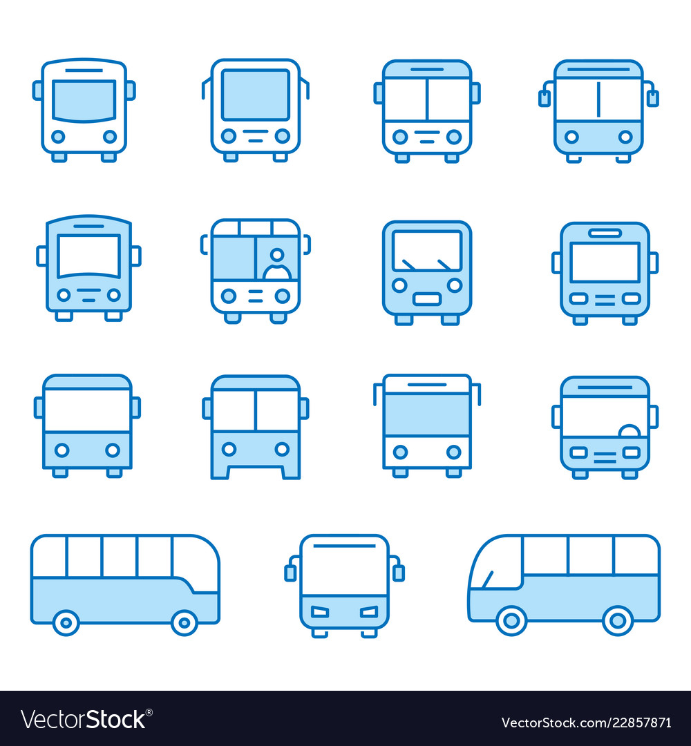 Bus flat line icon set