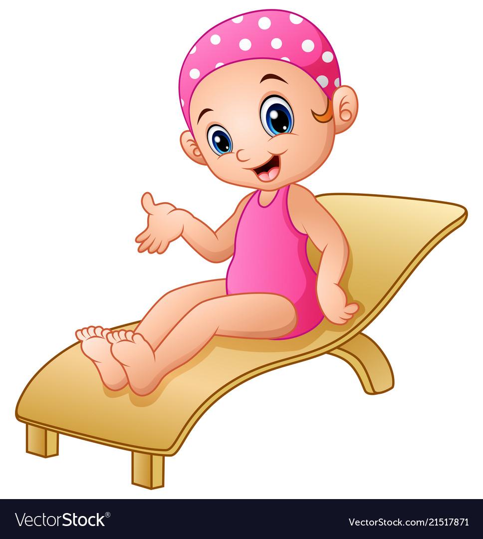 Cartoon girl sitting on beach chair vector image  sc 1 st  VectorStock & Cartoon girl sitting on beach chair Royalty Free Vector