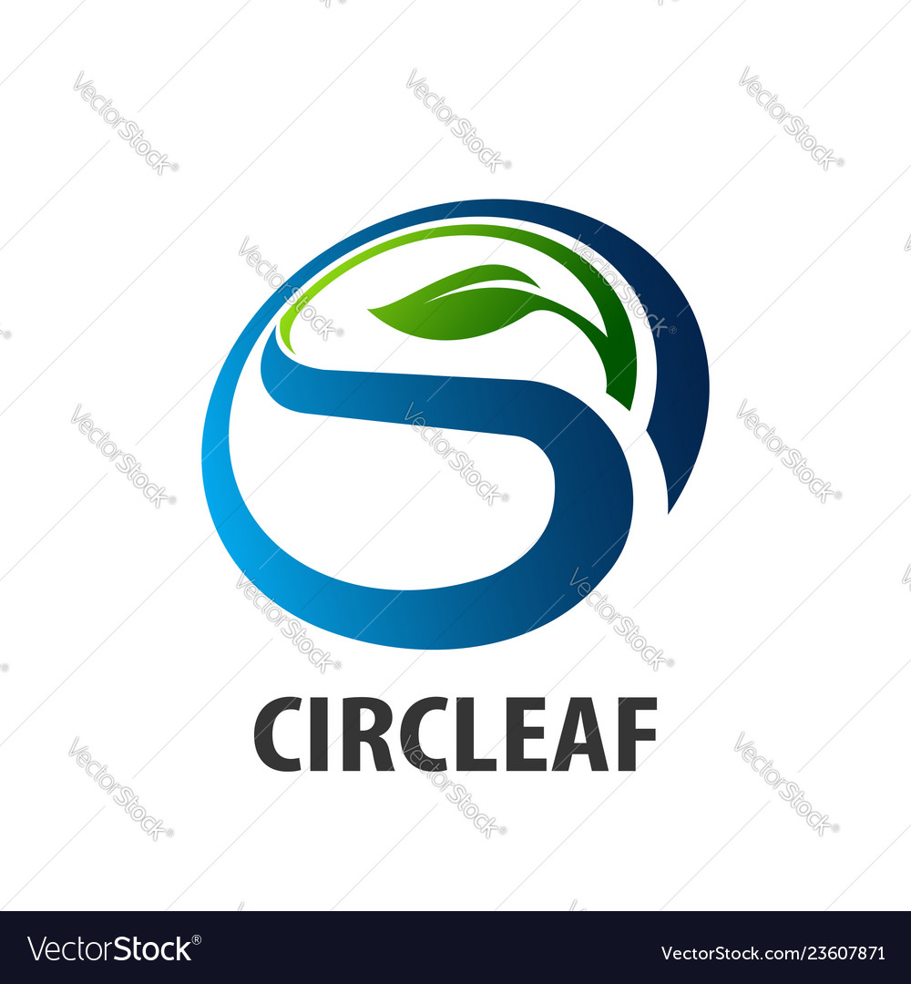 Circle leaf logo concept design initial letter s