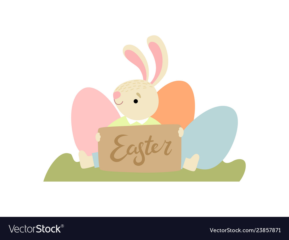 Cute bunny with eggs happy easter design element