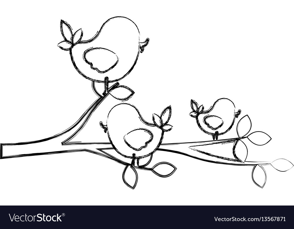 Figure birds in the branches trees icon