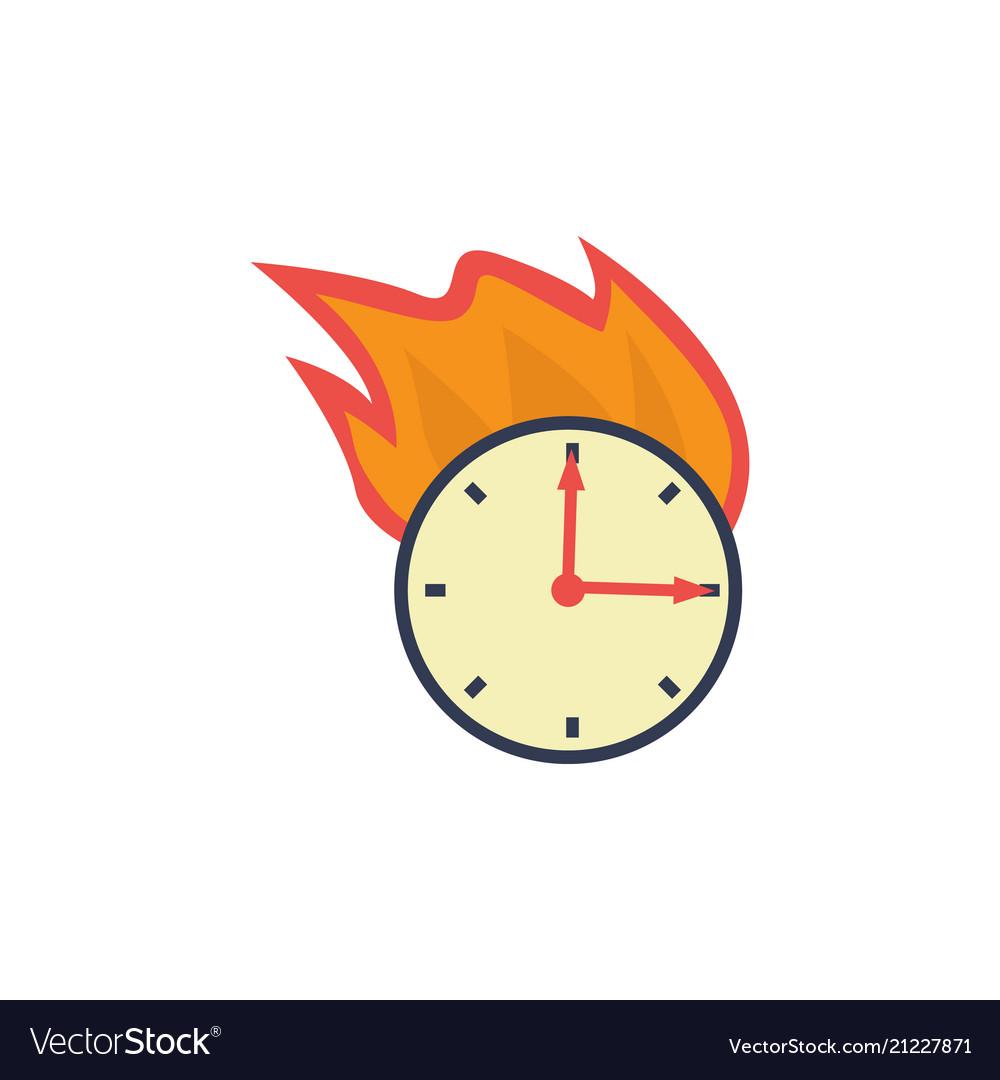Flat burning wall clock deadline concept