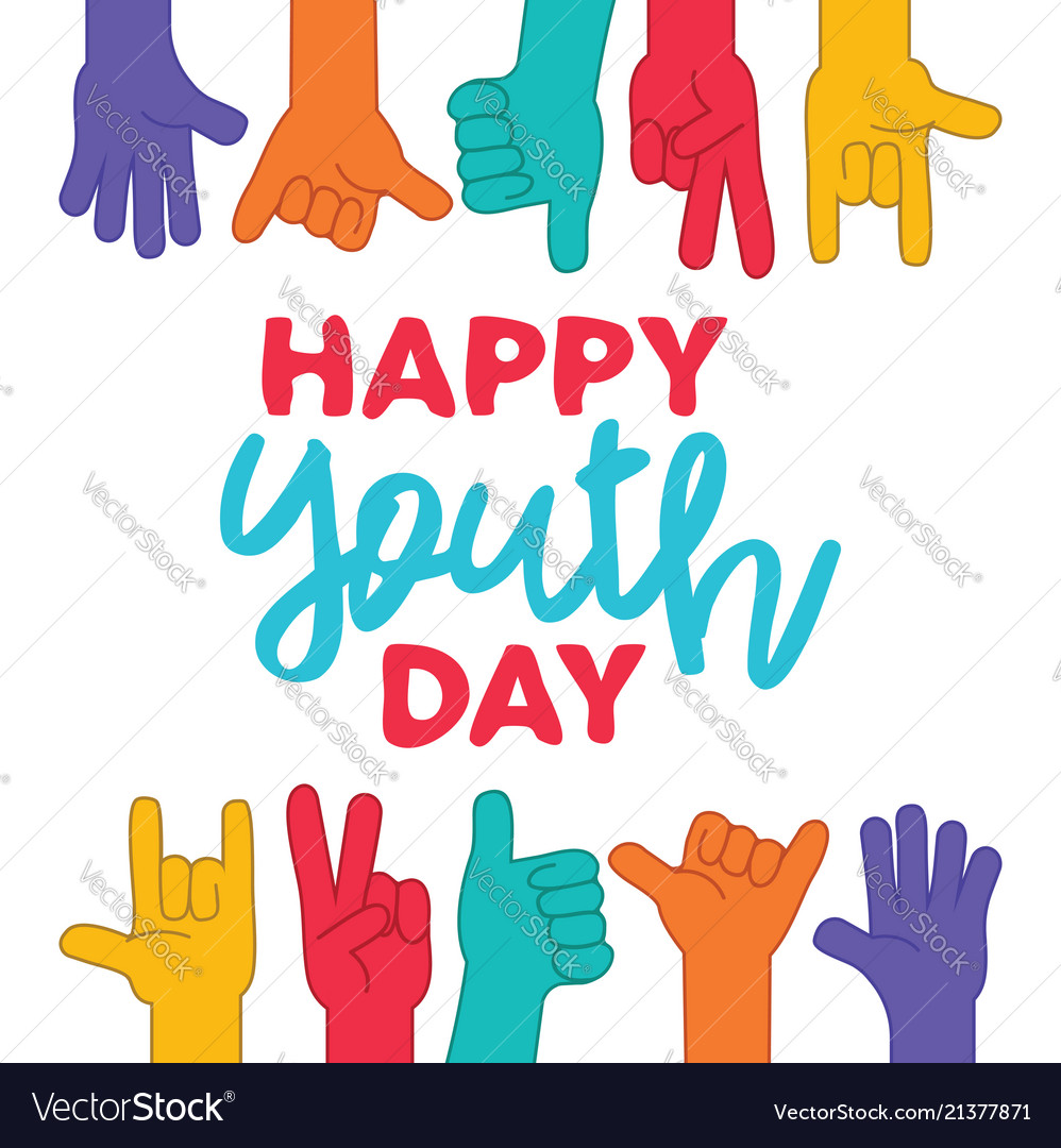 Happy Youth Day Greeting Card Of Diversity Hands Vector Image