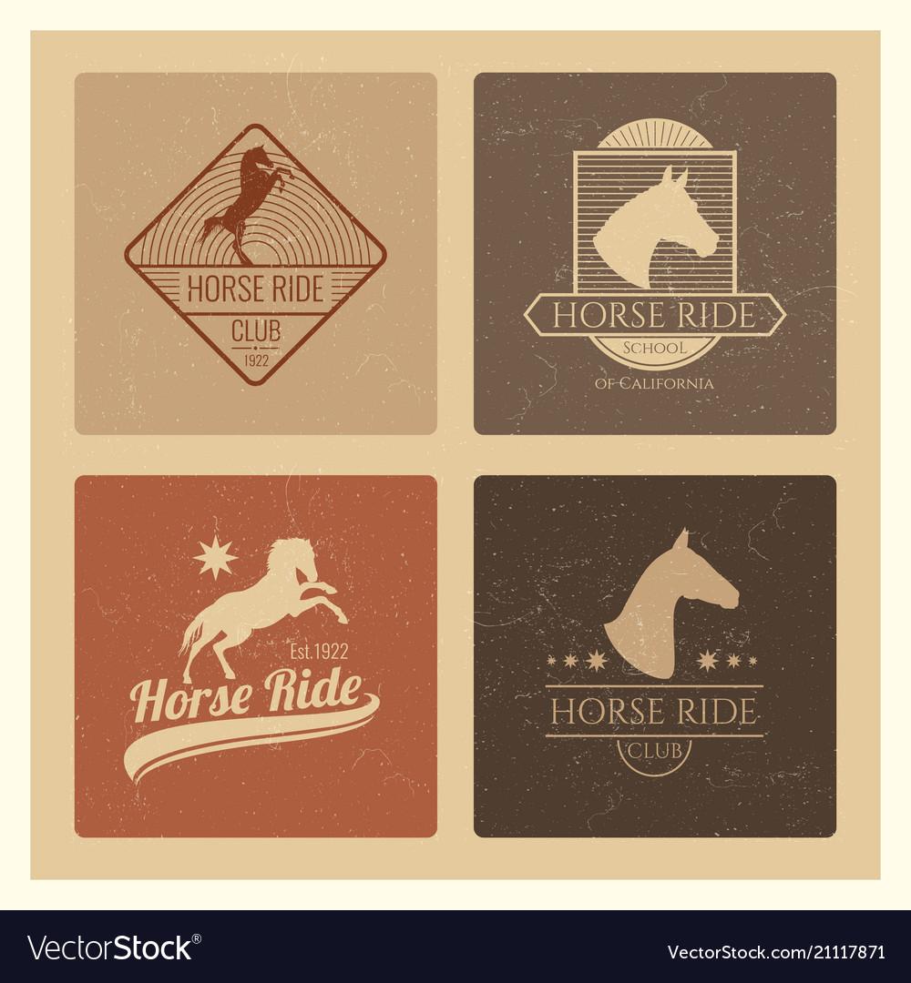 Horse ride club vintage emblem set