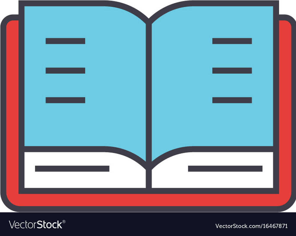 Open book study library concept line