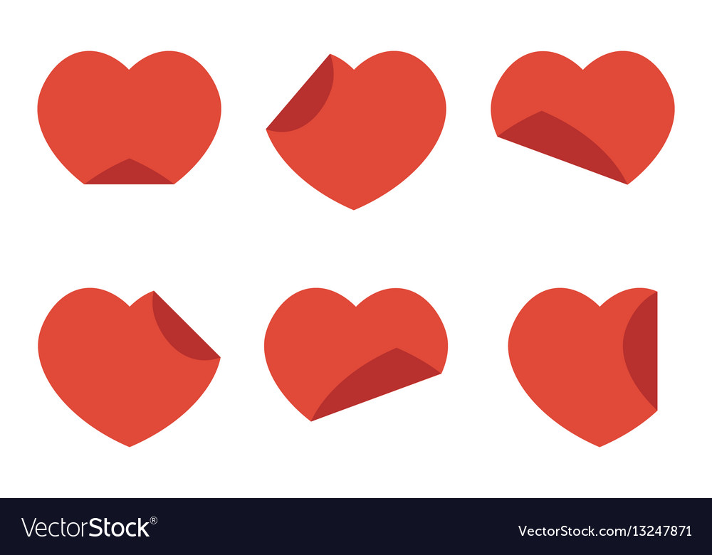 Set collection of flat design red hearts stickers