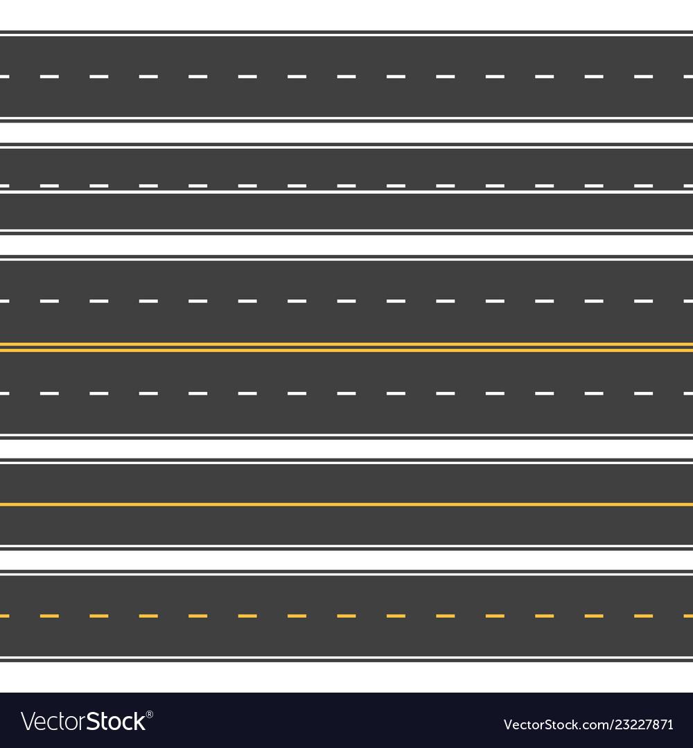 Straight roads seamless endless asphalt street