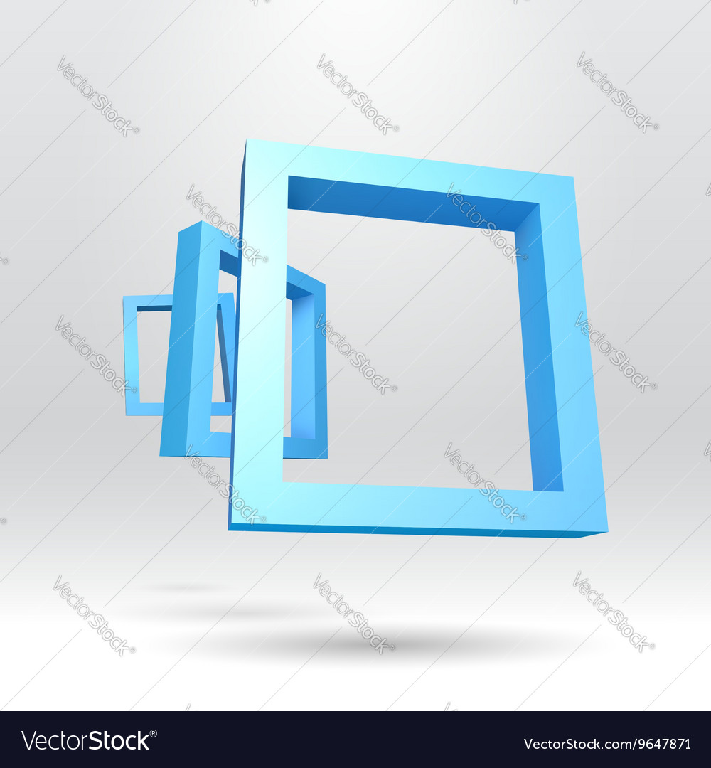 Three blue rectangular 3D frames Royalty Free Vector Image