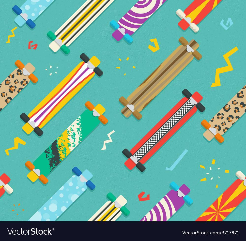 Various Longboards Diagonal Seamless Pattern