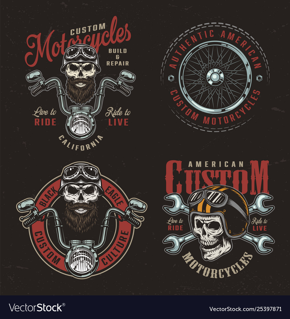 Vintage colorful custom motorcycle logotypes