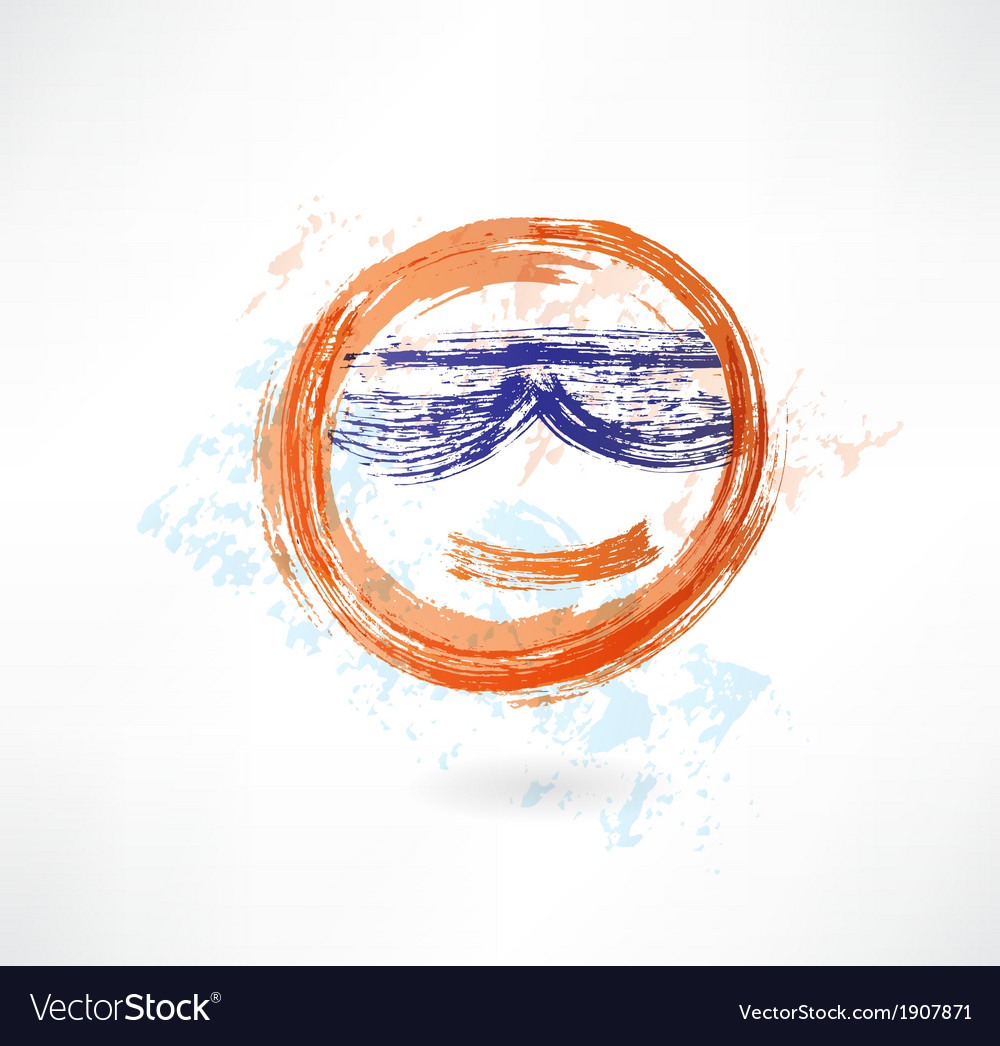 Yellow face in sunglasses grunge icon vector image