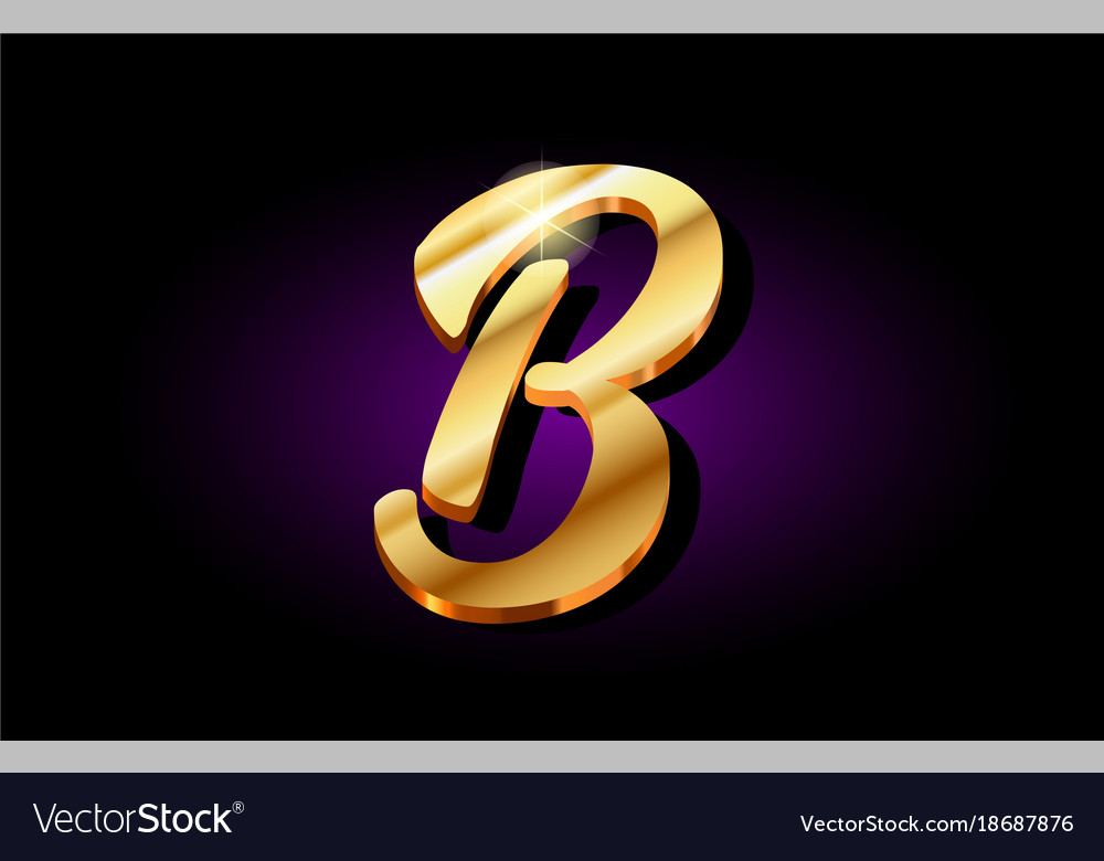 B Alphabet Letter Golden 3d Logo Icon Design Vector Image