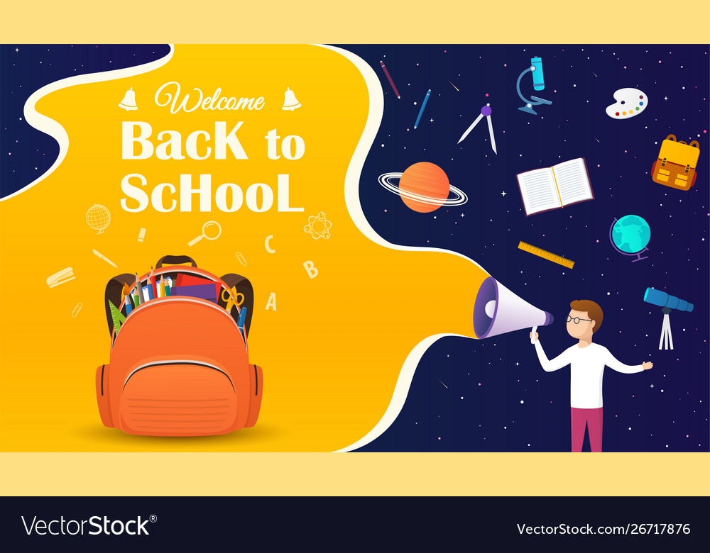 Back to school banner with backpack and school