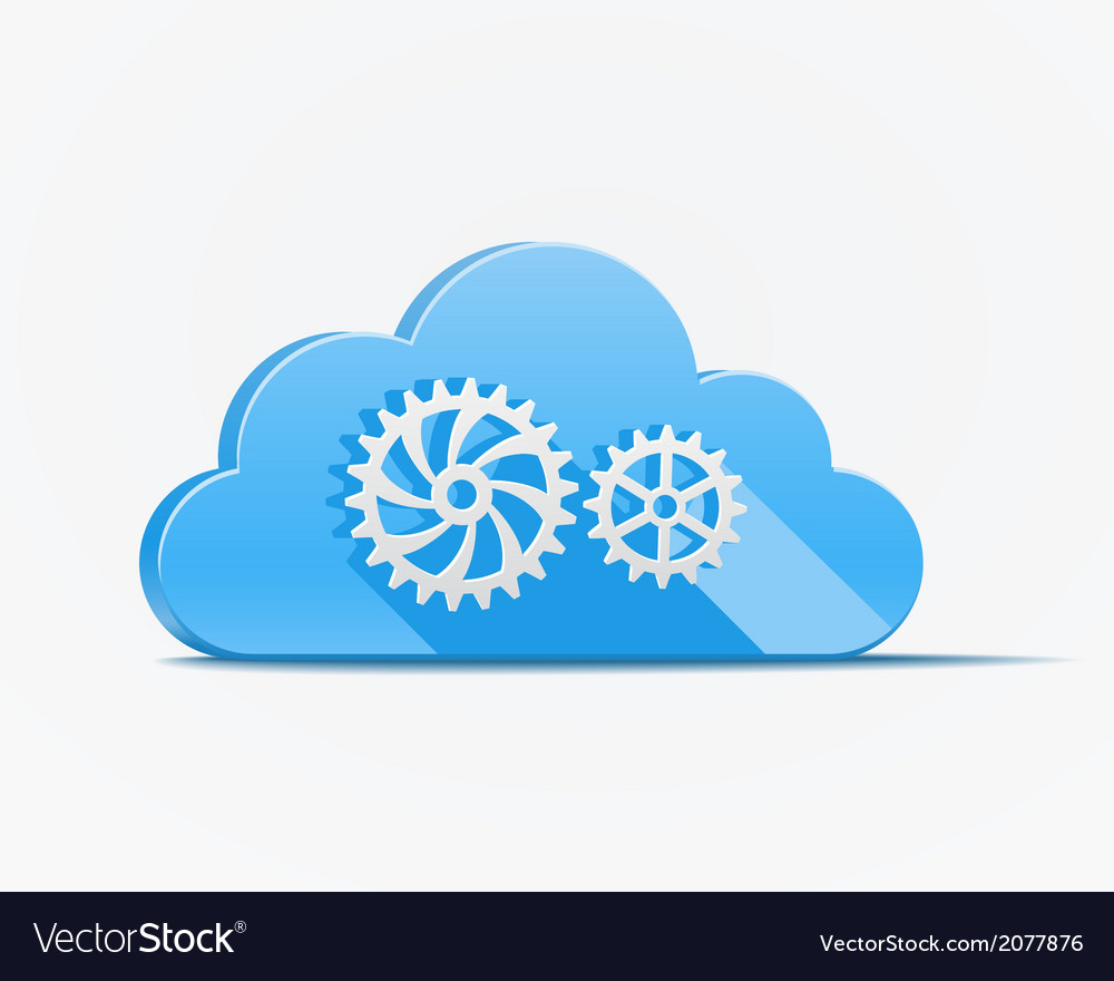 Blue cloud with gears