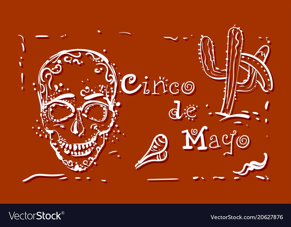 Cinco de mayo holiday poster hand drawn greeting