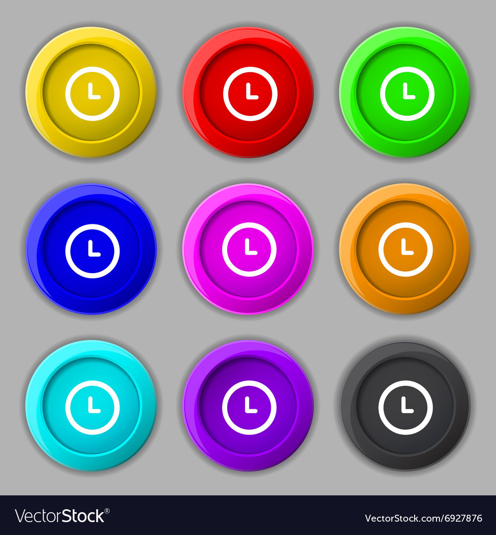 Clock icon sign symbol on nine round colourful