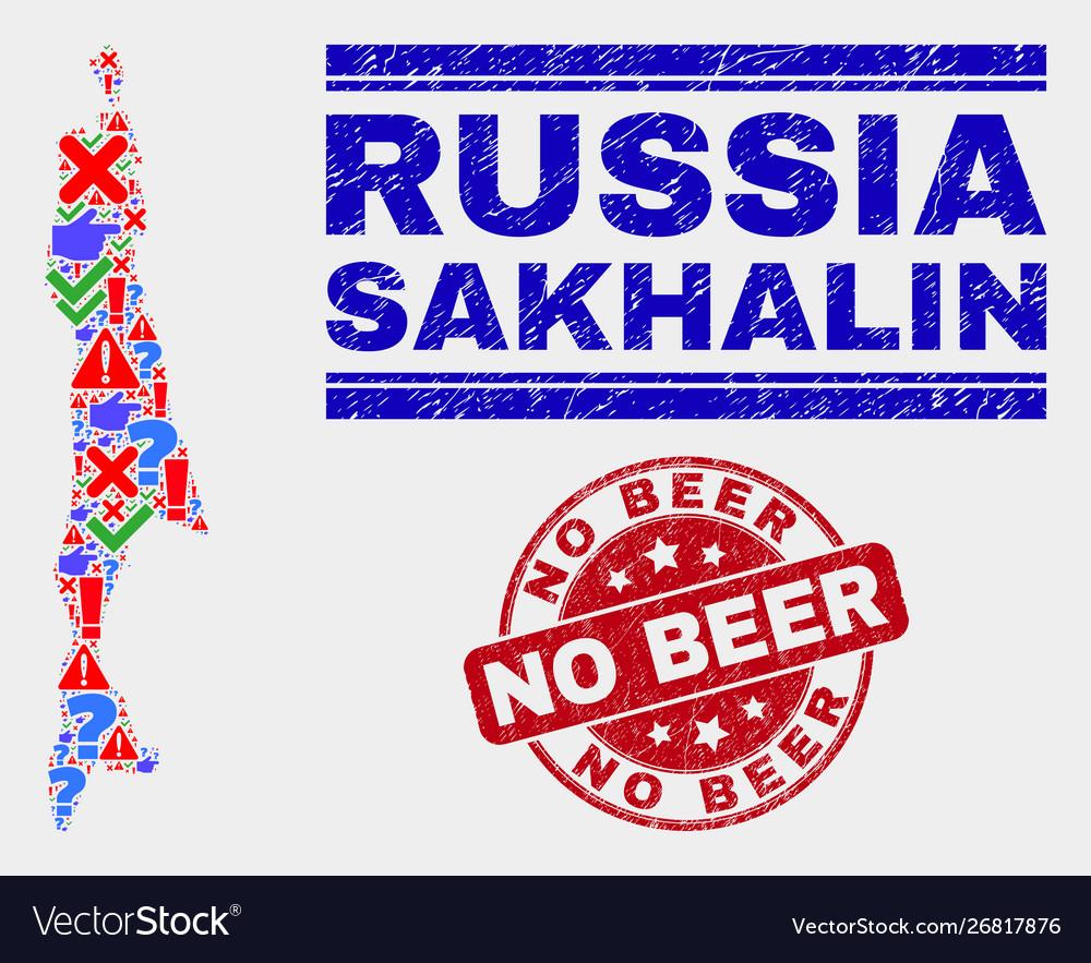 Collage sakhalin island map symbol mosaic and