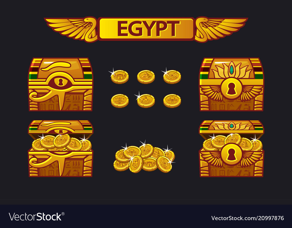 Egypt antique treasure chest and golden coins