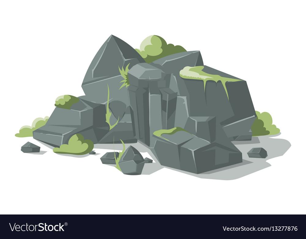 Grey stones and rocks cartoon nature