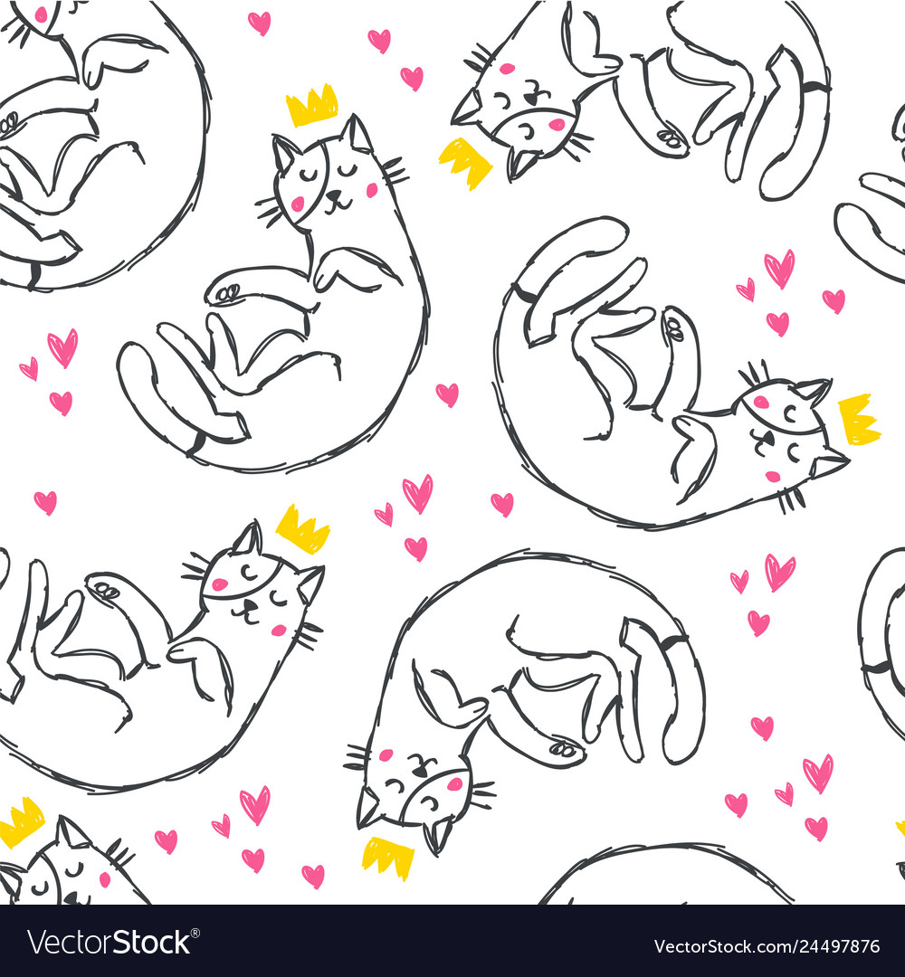 Hand drawn funny cats with hearts in sketch style