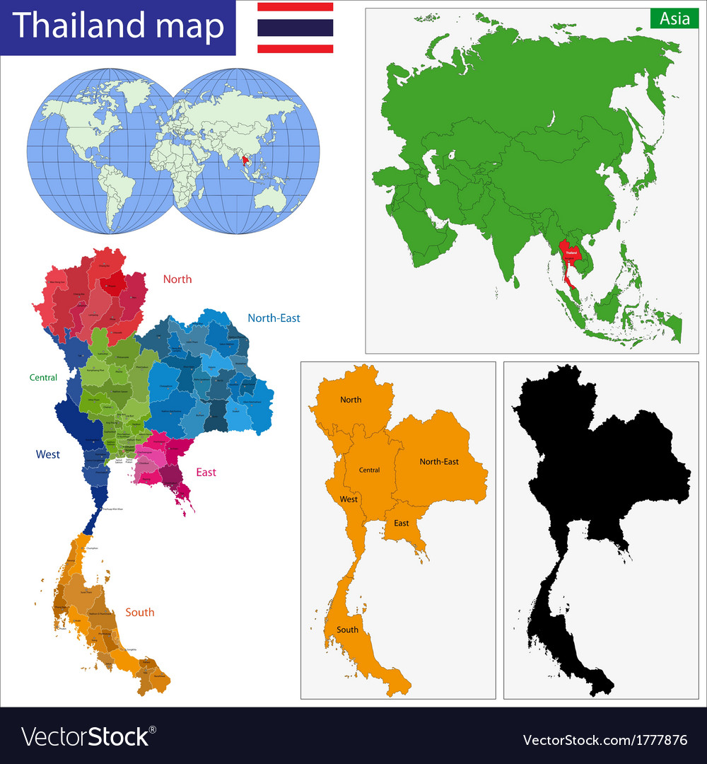 Map of Kingdom of Thailand Royalty Free Vector Image
