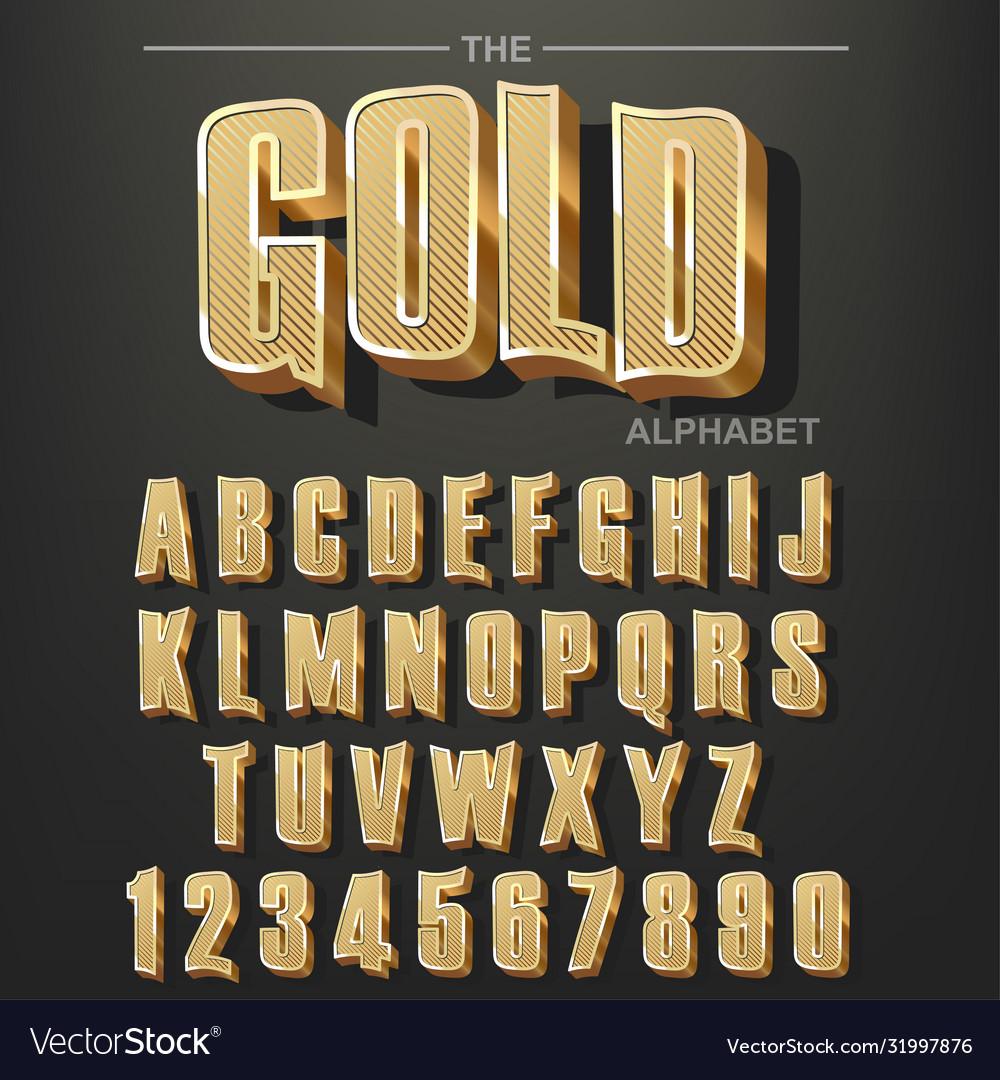 Modern elegant golden font and alphabet abc