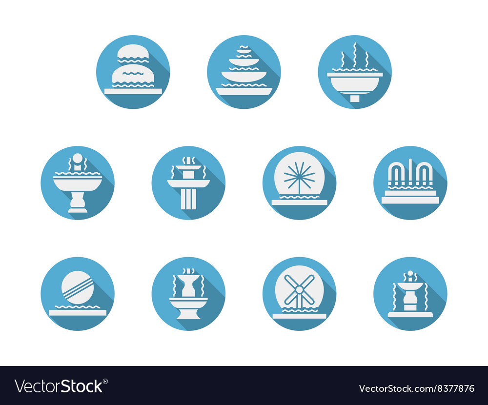 Round blue flat icons for fountains