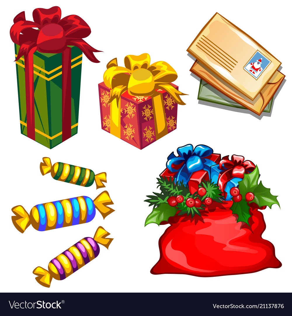 Set gift boxes and bag with gifts letters to