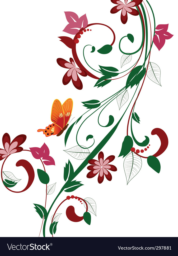 abstract floral design with butterflies royalty free vector