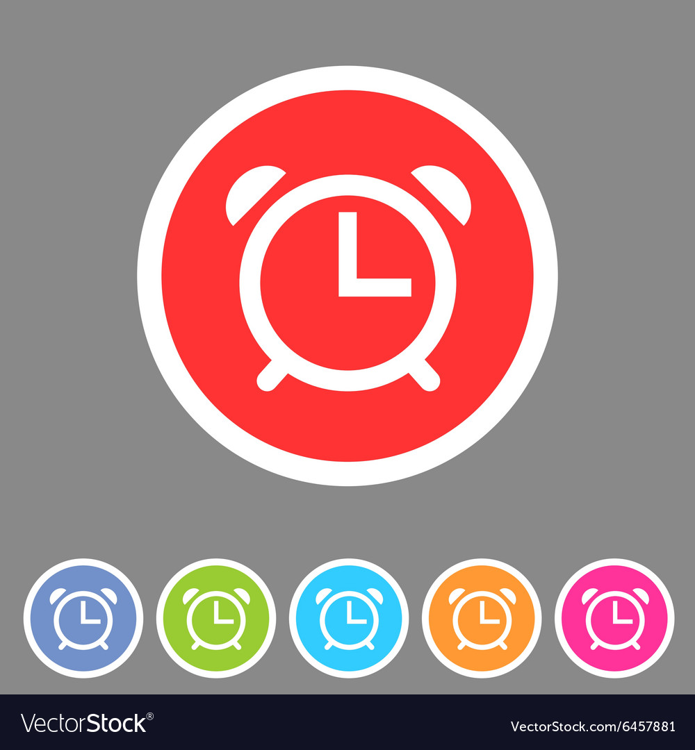 Alarm clock watch icon flat web sign symbol logo