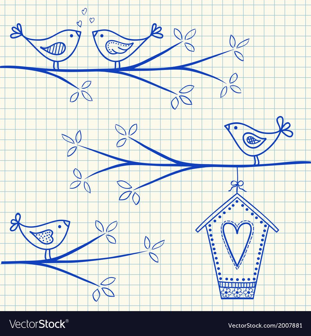 Birdhouse birds doodle squared paper