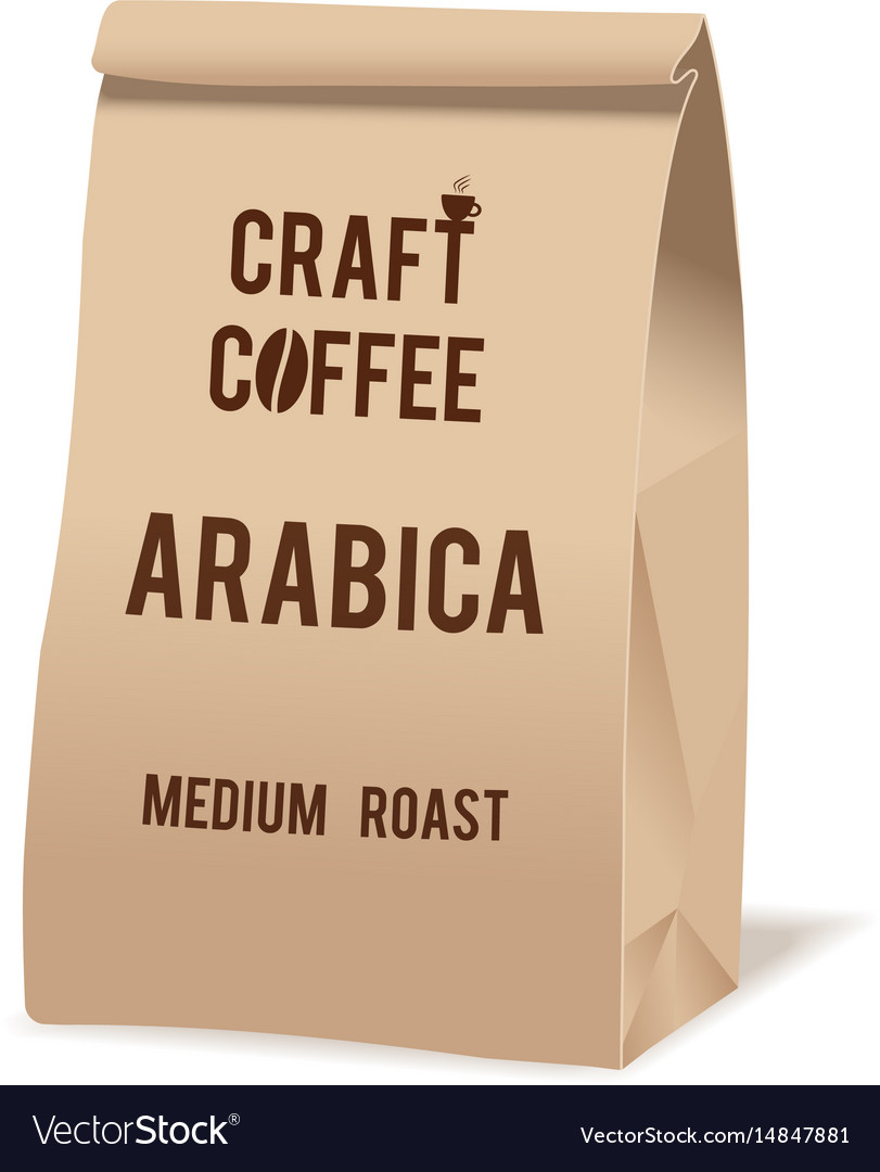 Brown paper food bag package of craft coffee